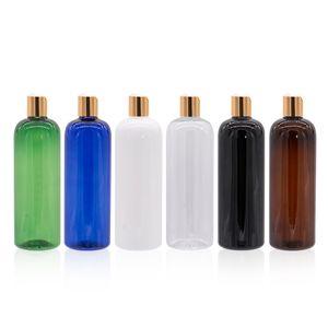 500ml Esvaziar plástico Shampoo Lotion Bottle Creme Com Cap Disco de Ouro PET recarregáveis corpo 500cc Container