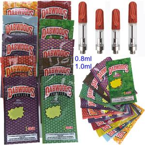 Exotics Dabwoods Tape Cartridges Упаковка 0,8 мл 1 мл TH205 Керамические пустые тележки Vape Pen Cards Wood деревянный наконечник 510 резьбовый толстый волск