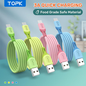 Topk Novo Micro USB Tipo C cabo para Xiaomi Vermelho MI Nota 9 3A Cabo de Dados de Silicone Líquido de Carregamento Rápido Para Samsung Huawei FY7435