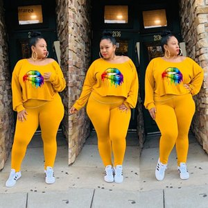 2019 Summer Plus Size Women O-Neck Long Sleeve Lips Printed Top With Long Slim Pants Casual Two-Piece Set DM140 X0923
