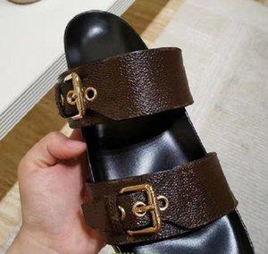 Chinelos de alta qualidade deslizam planos de verão Sexy plataforma de couro real sandálias planos sapatos Senhoras praia sapatos sapato02 pl01