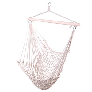 Grid cotton Hanging Rope Hammock Hanging chair Cradle Chair with Wood Stretcher Chair Swing beige