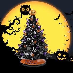 هالوين شجرة عيد الميلاد السيراميك مع البرتقالي والأرجواني الأنوار، منضدية ديكور شجرة مع القرع الأعلى وهالوين الياقة