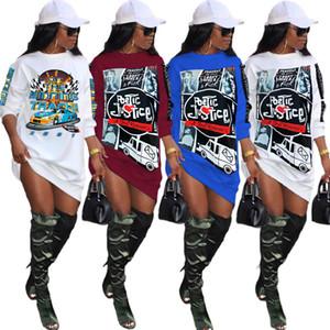 Женские платья сексуальные с длинным рукавом Письмо печати спортивная юбка дизайнер футболки платье мода повседневная печатная дама одежда плюс размер S-4XL 883