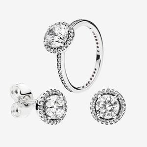 Big CZ Diamond Anillo de diamantes y conjuntos de pendientes 925 Joyas de plata esterlina para Pandora Elegant Women Anillos de boda Stud Pendientes con caja original