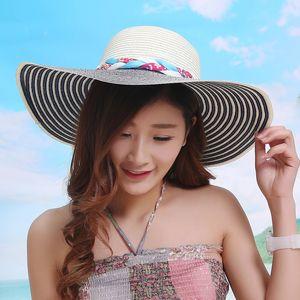 Designer Fashion Foldable Sun Hats For Women Wide Brim With A Bow Summer Sombreros Ladies Bohemia Beach UA Straw Visors Fishing Cap Cappelli