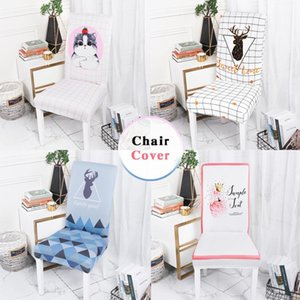 Printed Chair Cover Dining Elastic Chair Covers Spandex Stretch Cover Removable for Dining Room Wedding Kitchen Banquet