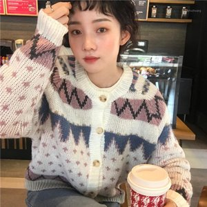 Autumn Winter Women Christmas Cardigan Sweater Loose Coat Female Long Sleeve Loose Knitted Sweaters1
