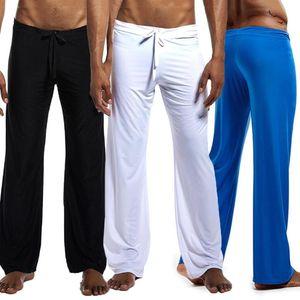 Long Yoga Pants Men Length Loose Jogging Pants Men Casual Solid Color Low-waisted Drawstring Loose Running Yoga Trousers