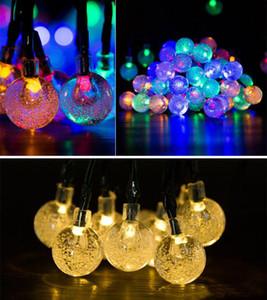 Großhandel ECO solarbetriebene LED-Schnur-30-Birnen-Kristallkugel Weihnachten Camping Außenbeleuchtung Party 8 Modi 6.5m BWA1732