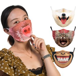 2020 cross-border hot style 3D Animals printed  face masks Cotton Face Mask Designer masks Reusable PM2.5 Carbon Washable Adult