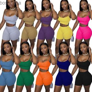 Designer Sommer Womens 2 Stück Set Shorts Outfits Trainingsanzug Solide Farbe Casual Damen Kleidung Sexy Hosenträger Tops Anzug Plus Größe 898