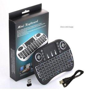 Mini I8 Wireless Keyboard Mouse de ar voando esquilo 2 .4g com touchpad tri-tholor backlight -russian, espanhol, inglês opcional