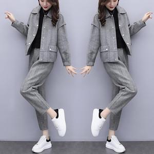 gray 2021 New winter wool two pieces of define jacket + women's fashionable pantsuit pants ladies 2-bun female sets y486 ESYX
