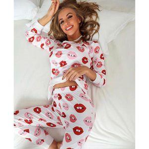 Free Shipping-sleepwear home Wear-kiss Printed Woman Pajamas Set