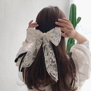 Fata Style Big Bowknot Women Woodpieces 2021 Romantico Pizzo bianco Capelli da sposa Accessori Bow Bridal Hearwear Hairband Tortpin AL8560