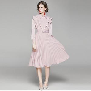 2020 Nouvelle Automne Volants Rose en mousseline de soie Robe Femme manches longues Slim taille ceinturée Robe plissée Femme Perles Bouton Midi Robe
