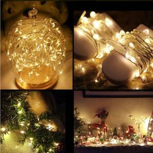 LED-Leuchten String 1M 2M 3M Kupfer-Silber-Draht-Leuchten Batterie-Fee Licht für Weihnachten Halloween Zuhause-Party Hochzeit Dekoration BWD2247