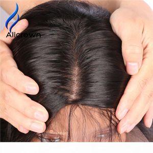 Alicrown Silky Silky Silk Base Dentelle Front Human Hair Perruques pour femmes noires Brésilien Remy Remy Dentelle Perruques avec bébé