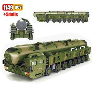 1149Pcs 현대 군사 중국 DF-41Intercontinental 탄도 핵 미사일 차량 빌딩 블록 DIY 육군 무기 벽돌 장난감