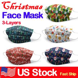 Mascarillas desechables navidad 3-capa de protección de la máscara con la cara del niño Earloop Boca X'mas regalo del niño adulto 50pcs / box
