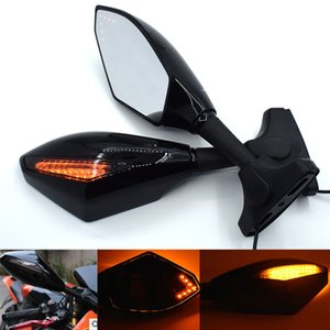 Universal Motorcycle Rear View Side Wing Mirrors w  LED Turn Signal Light For Honda CBR600 F4 F4I 1999-2006 CBR600RR 03-05 07-10
