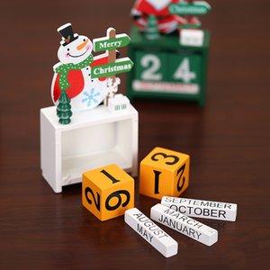 Decorazioni di Natale Countdown Calendar ornamenti di Natale regali creativi Mini legno anziana Desk Calendar Fai da te Desktop ornamenti HWA1978