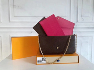 Original nuevo patrón de agua de cuero de cuero genuino bolsas de hombro de cuero diseñador bolsos de alta calidad de lujo de lujo felicie cadena mujeres bolsas V88