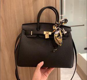 In Stock Fast Ship Top Quality Cowhide Constance Designer Handbag Purse Genuine Litchi H Word Shoulder Crossbody Bag Shopping Bag Ribbons