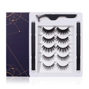 3D Synthetic Hair False Eyelashes Reusable Self Adhesive Eyeliner Pencil Tweezers Set 3D Natural False Eyelashes Extension 5 Pairs