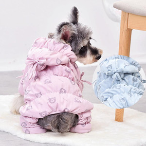 Luxury Cute Bows Hat Winter Dog Clothes Windproof Overall For Dogs Down Snow Coat Thicken Parkas Jumpsuit Puppy Outfit Pet Pugs