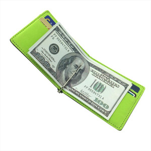 New Fashion Mens Leather Credit Card Wallet Slim Money Clip Simple Design Men Bifold Purse With Metal Clamp Thin Cash Holder
