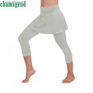 CHAMSGEND Yoga Fashion solid color Tennis Pants Running Sports Pants Stretch trousers Women Casual Fitness Cropped Culottes 09