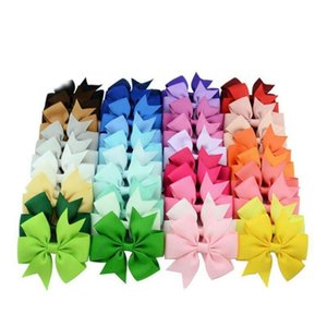 Top Quality 40 Color Children Accessories Girl Hair Clips Bow Barrettes Plain Bow Hairpin Kid Hairwear Multicolor Oncc0