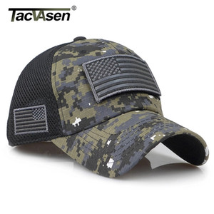TACVASEN Tactical Camouflage Baseball Men Summer Mesh Military Army Caps Constructed Trucker Cap Hats With USA Flag Patches 201023