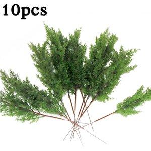10x Feuilles artificielles Branche Pin Cypress Feuilles de feuilles Simulation Accueil Micro Paysage Décor Y200104