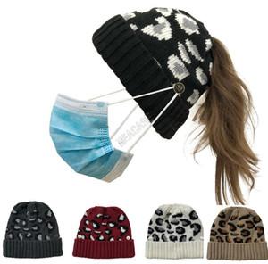 Leopard Warm Knitting Women Beanies Designer Hat with Face Mask Button Skull Cap Fashion Ponytail Skullies Helmet Ski Sport Headwear D102703