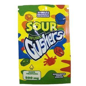 100pcs lot Black Sour Gusher Tropical Infused Gushers Worls Dankest Gushers 2 Flavors Plastic Zipper Bag 500mg Storage Mylar Bag