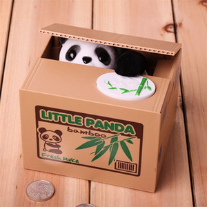 Panda Coin Box Kids Money Bank Automated Cat Thief Money Boxes Toy Gift for Children Coin Piggy Money Saving Box LJ201212