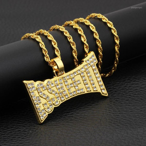 Hip Hop Rhinestone Paved Bling Iced Out ESSKEETIT Square Pendants Necklace for Men Club Rapper Jewelry Gold Silver Color1