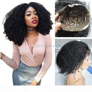 Silikon-Vollspitze-Perücke 1b indisches lockiges jungfräuliches Haar heißer Verkauf Full dünne Hautperücke für schwarze Frauen Freies Verschiffen