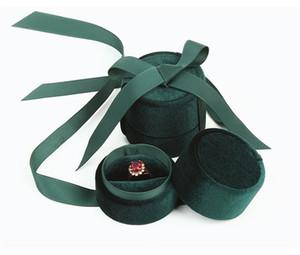 Корден Corduroy Cylinder Jewel Case Кольца Ожерелье Подвески Коробки для хранения Шелковая Лента Выставка Подарочная Упаковка Шкатулка Изысканные Женщины Новый 7kk N2
