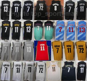 Men Basketball Kyrie Irving Jersey 11 Kevin Durant 7 James Harden 13 Biggie 72 Spencer Dinwiddie 8 Black BLue WHite City Earned Edition