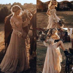 Vintage Country Western Brautkleider 2021 Spitze Langarm Gypsy Schlagen Boho Brautkleider Hippie Stil Abiti da Spos