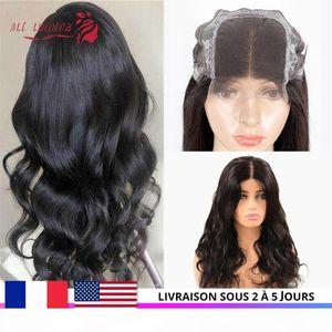 4x4 кружева Закрытие парик Бразильский Объемная волна человеческих волос Парики Pre щипковых волос младенца 180% Remy парики шнурка 30 дюймов парик быстро США