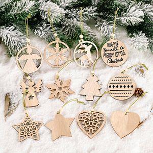 Christmas Wood Tree Pendant 1212pcs Cartoon Desktop Ornament Home Decor Xmas Snowflake Ball Hanging Toys