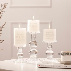 Column Candle Holder Crystal Candle Stand Clear Glass base Brela For Ball Tealight Block Candlestick tray