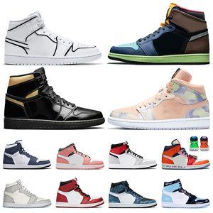 Мужчины 1S 1 Jumpman Low OG Баскетбол обувь Magenta обсидиана Военный Themed лазерный синий тропических коричневый женщин Спортивная обувь кроссовки на открытом воздухе