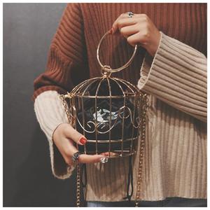 Birdcage Evening Clutch Metal Frame TekiEssica Design Mulheres Bordados Bucket Mini Bag Bolsa Mulheres borla Handbag Q1113