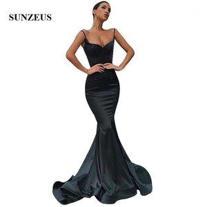 Платья партии русалка длинные черные платья женские вечерние платья 2021 спагетти ремни простая элегантная формальная формальная